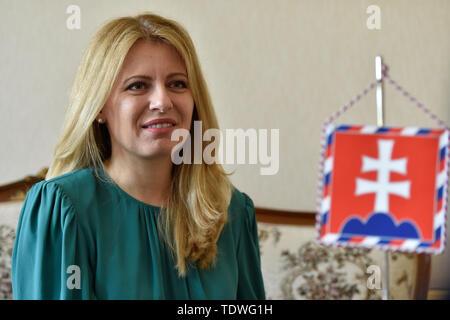 Bratislava, Slovakia. 19th June, 2019. New Slovak President Zuzana Caputova gives CTK interview in Bratislava, Slovakia, June 19, 2016, prior to her Thursday visit to Czech Republic. Credit: Vaclav Salek/CTK Photo/Alamy Live News - Stock Image