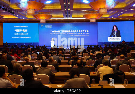 Beijing, China. 24th Apr, 2019. Melissa Leach, director of Institute of Development Studies, UK, speaks during the inauguration meeting of the Belt and Road Studies Network (BRSN) in Beijing, capital of China, April 24, 2019. The Belt and Road Studies Network (BRSN), co-initiated by Xinhua Institute and 15 other think tanks, was inaugurated in Beijing Wednesday. Credit: Zhang Yuwei/Xinhua/Alamy Live News - Stock Image