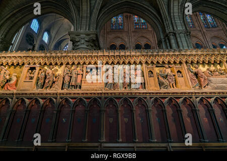 France, MAY 7: Interior view of the famous Notre-Dame de Paris on MAY 7, 2018 at Paris, France - Stock Image