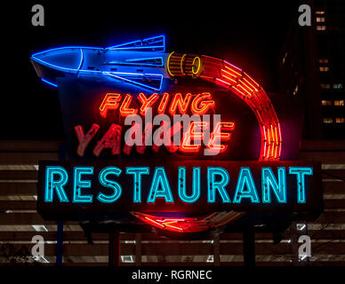 Flying Yankee Restaurant neon sign shot at night time in Boston. Preserved together with other signs on Rose Fitzgerald Kennedy Greenway. - Stock Image