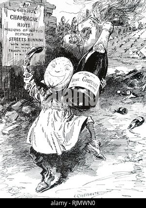 Cartoon depicting the  riots in the French Champagne region. The Champagne Riots of 1910 and 1911 resulted from a series of problems faced by grape growers in the Champagne area of France. These included four years of disastrous crop losses, the infestation of the phylloxera louse (which destroyed 15,000 acres (6,100 ha) of vineyards that year alone), low income and the belief that wine merchants were using grapes from outside the Champagne region. Dated 20th century - Stock Image