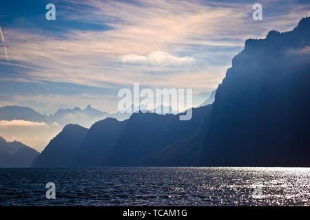 Lake Luzern alpine cliffs and dramatic lights view, amazing landscape of Switzerland - Stock Image