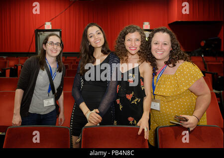 Bellmore, New York, USA. July 18, 2018. L-R, STEPHANIE DONNELLY, director and writer of short film The Adventures of Penny Patterson; AJNA JAI, actor playing Penny Patterson; BETHANY NICOLE TAYLOR, lead actress in romcom short film Joe; and SHARA ASHLEY ZEIGER, producer and writer of film Joe, chat after final block of films at LIIFE 2018, the Long Island International Film Expo. - Stock Image