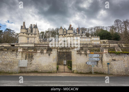 Exterior of Chateau d'Ussé in Rigny-Ussé, Indre-et-Loire, France - Stock Image