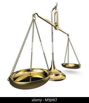 Brass scale. Perspective view on white background. 3D render. - Stock Image