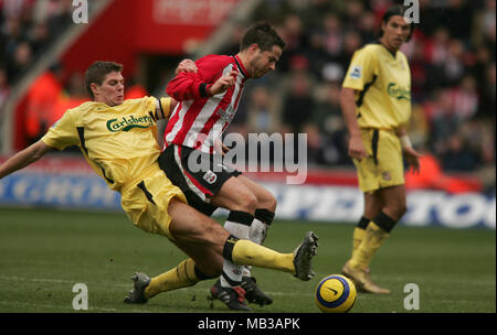 Liverpools Steven Gerrard tackles Southamptons jamie redknapp during a Premiership match at St Marys stadium. - Stock Image