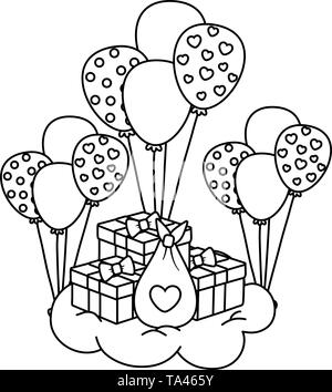 balloons with gift boxes wrapped with ribbon and bow and decorated with stars and points vector illustration graphic design - Stock Image