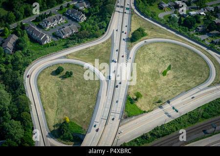 Aerial View Of Highway Interchange - Stock Image
