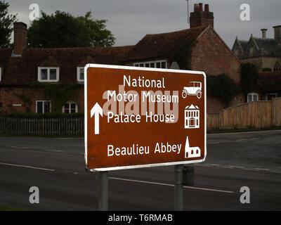 Road sign tourist information at Beaulieu, New Forest, Hampshire, England, UK - Stock Image