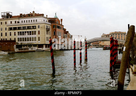 Gondola trip on a canal in Venezia - Stock Image