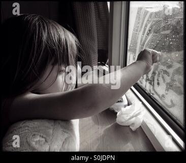 Rainy Caravan Holiday Waiting for Sunshine - Stock Image
