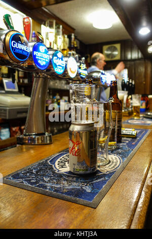 Public House, Beer Pumps, Empty Glasses, Barman - The Eagle, Braintree - Stock Image
