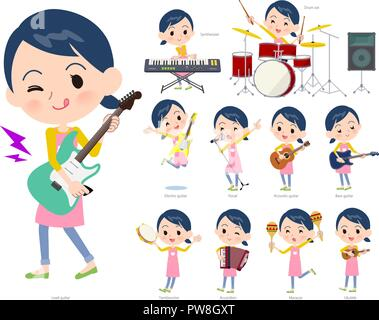 A set of Childminder women playing rock 'n' roll and pop music.There are also various instruments such as ukulele and tambourine.It's vector art so it - Stock Image