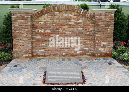 The grounds and Memory Wall at The National Memorial for Peace and Justice museum and monument in Montgomery Alabama, USA, a civil rights landmark. - Stock Image