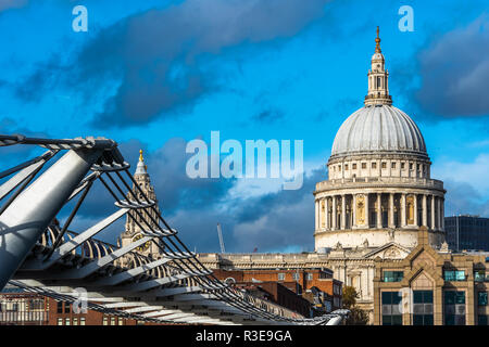 Scenic view of St Paul's cathedral with Millennium Bridge in foreground, London, UK - Stock Image