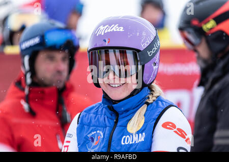 Courchevel, France. 21st December 2018, Courchevel, france. Tessa Worley third place on the podium in Courchevel Ski World Cup Women's Giant Slalom Credit: Fabrizio Malisan/Alamy Live News - Stock Image