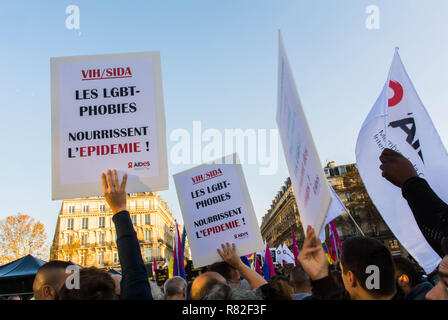 Paris, France. French LGBT Demonstration against Homophobia, Recent Anti-gay violence, Posters - Stock Image