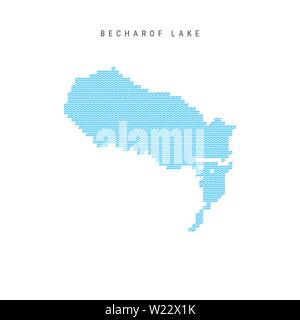 Vector Blue Wave Pattern Map of Becharof Lake, One of the Lakes of North America. Wavy Line Pattern Silhouette of Becharof Lake. - Stock Image