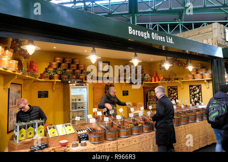 Borough Olives Ltd. olive market stall at Borough Market in London England UK  KATHY DEWITT - Stock Image