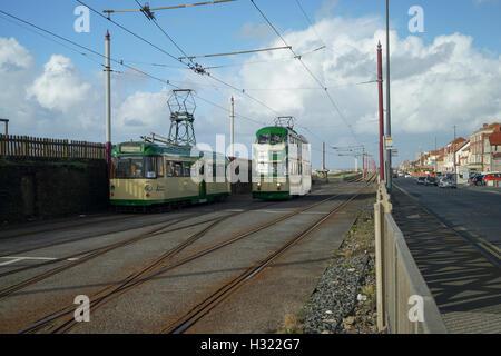 Blackpool Heritage Tramcars pass at Bishpam -1 - Stock Image
