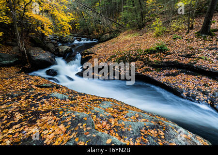 Waterfall and raging water in Cotton Hollow in central Connecticut - Stock Image