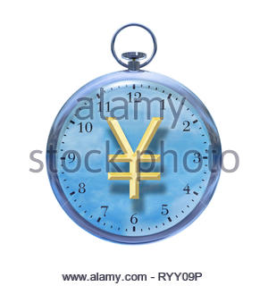 Time is money time management time cost watch with Japanese Yen ¥ sign on a white background. - Stock Image