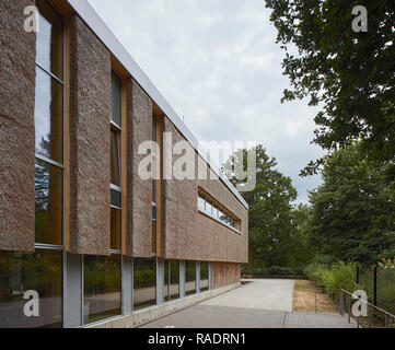 Perspective along thatch facade with trees. The Enterprise Centre UEA, Norwich, United Kingdom. Architect: Architype Limited, 2015. - Stock Image