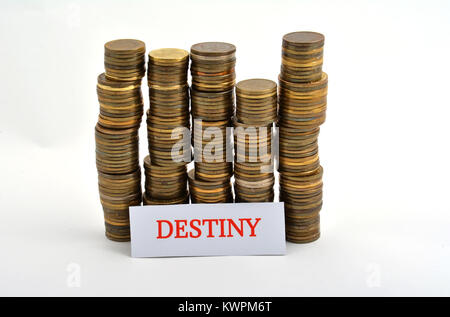 Word destiny with coins isolated on white background - Stock Image