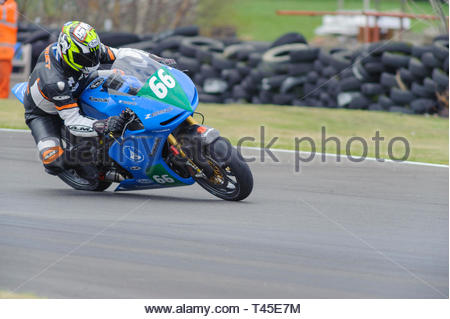 East Fortune, UK. 14 April, 2019. 66 Kevin Watret riding a Kawasaki Z650 in a Scottish Lightweights race at East Fortune Raceway, during the opening rounds of the 2019 Scottish Championships, Melville Open and Club Championships. Credit: Roger Gaisford/Alamy Live News - Stock Image