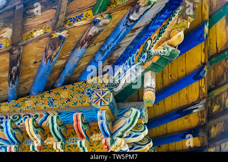 Close-up of temple structure in the grotto, Mati Temple Scenic Area, Zhangye, Gansu Province, China - Stock Image
