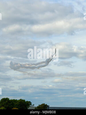 Red Arrows flying at Biggin Hill Airshow - Stock Image
