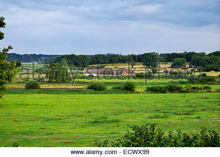 View of the Viking market town of Haithabu from the surrounding rampart, facing the Haddebyer Noor that was their - Stock Image