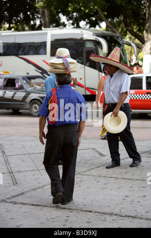 Mexican Hat Sellers, Merida, Yucatan State, Mexico - Stock Image