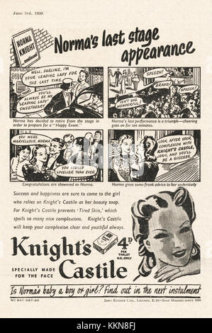 1939 UK Magazine  Knight's Castle Soap Advert - Stock Image