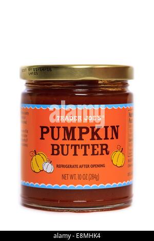 A jar of Trader Joe's Pumpkin Butter - Stock Image