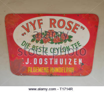 Vintage VYF Rose, Ceylon tea advertizing metal signs, in Calitzdorp, South Africa, - Stock Image