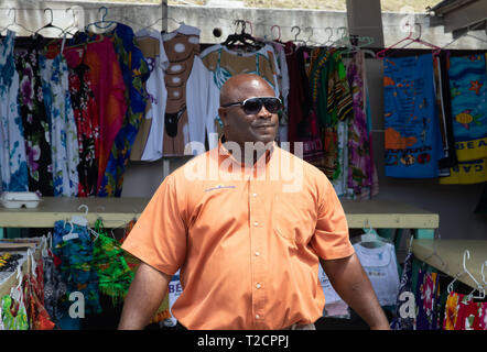 Souvenir stalls in Antigua, The Caribbean - Stock Image