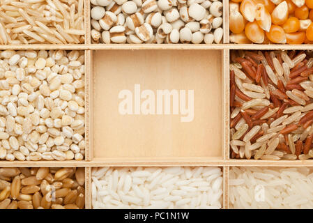 Closeup of different types of grains with copy space - Stock Image