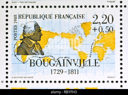 French postage stamp (1988): Navigators and Explorers series - Louis-Antoine, Comte de Bougainville (1729 – 1811) French admiral and explorer. - Stock Image