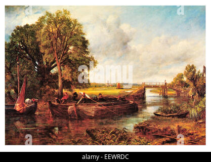 View on the Stour John Constable Sussex River barge merchant vessel boat trade bridge barge pole sail sailing - Stock Image