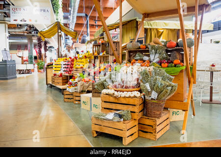 fruit vegetable market stall Fico Eataly World  - Bologna - Italy - Stock Image