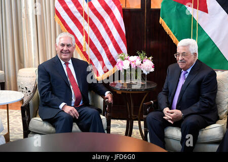 U.S. Secretary of State Rex W. Tillerson meets with Palestinian Authority President Mahmoud Abbas, in Washington, - Stock Image