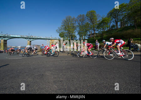 Riders on stage 3 of the Tour De Yorkshire cycle race 2018 as they pass through Scarborough in North Yorkshire - Stock Image