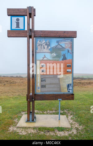 Information display giving information about Monument Ossuaire Navarin also called Monument aux Morts de Armees - Stock Image