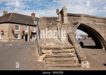 the medieval bridge and monument part of medieval Croyland Abbey gates in Crowland, Lincolnshire - Stock Image