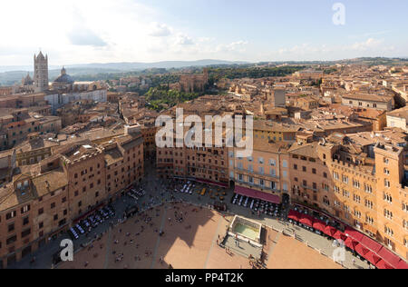 the Piazza Del Campo from the Torre del Mangia, Siena, Italy Europe - Stock Image
