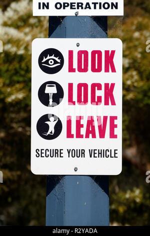 Car park security sign, Perth, Western Australia - Stock Image
