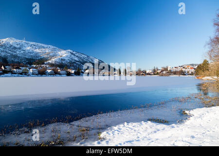 view over some houses in bergen from the lake Tveitevannet - Stock Image