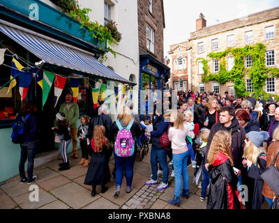Wizards, witches & muggles queue up outside the officially licensed Harry Potter merchandise pop-up shop as Wirksworth becomes Hogsmeade for the day as this town in the Peak District's hidden gem celebrates all things Harry Potter on 20 October 2018 - Stock Image