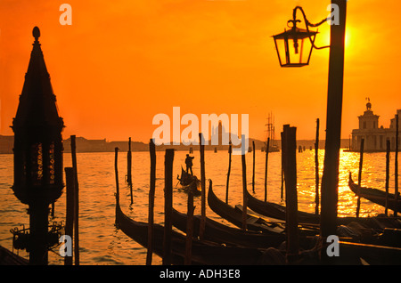 Italy Venice Riva degli Schiavoni Canale Grande Riva degli Schiavoni Gondola pier - Stock Image